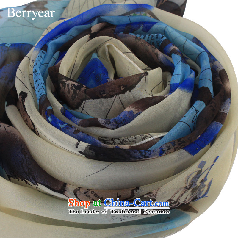 Berryear new products herbs extract scarf wild blue map silk scarves female long silk scarf shawl200*130CM sunscreen