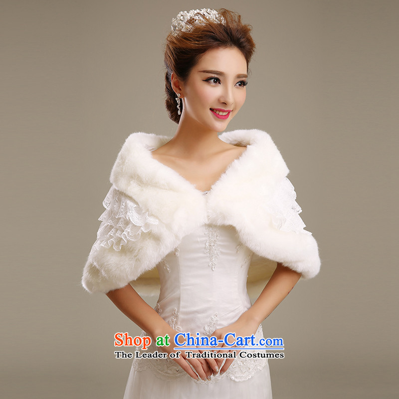 Embroidered bride bride shawl is by no means high white simulation winter fur wedding shawl wedding weddings shawl beige