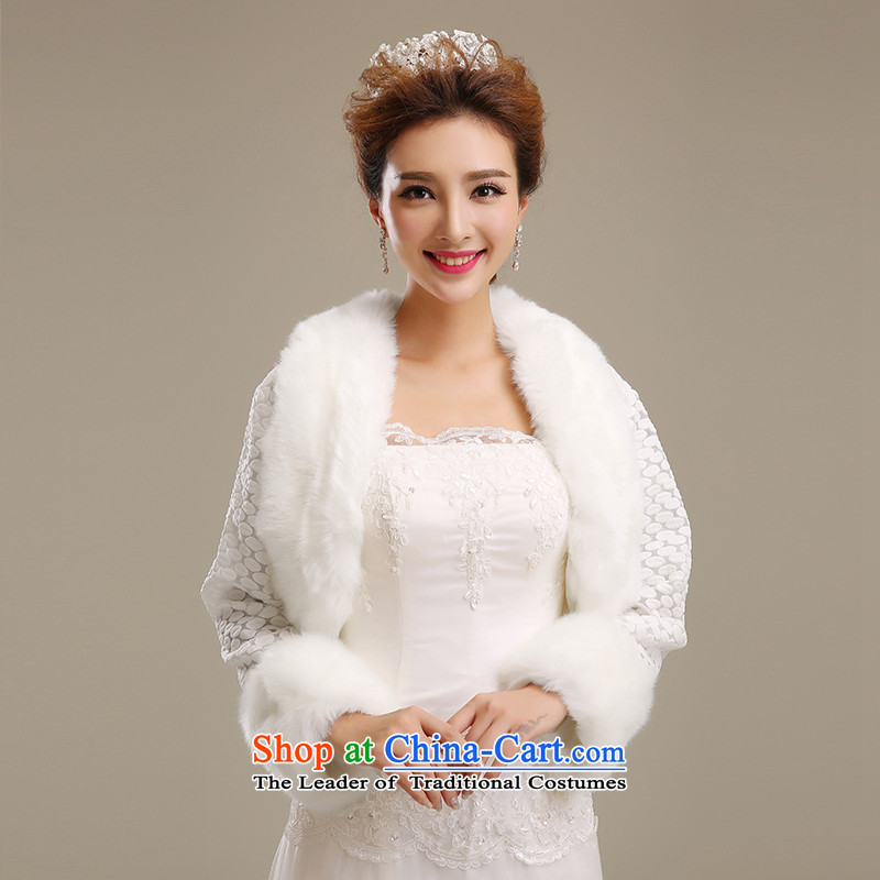Embroidered brides is fur female jackets women fur short, and fur coats grass Ms. shawl m White