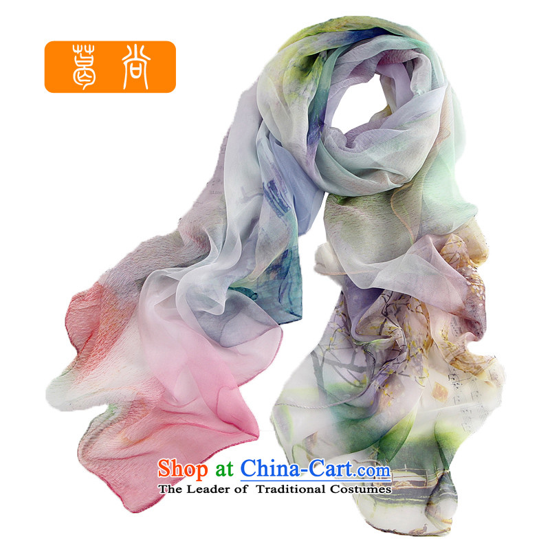 Ge Sang2014 spring and fall new upscale 100% sauna silk scarves silk scarfLM1019 Peach Blossom Springblue are code