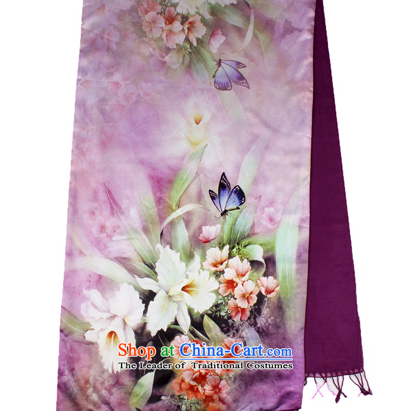 Shanghai Story scarf autumn and winter Ms. new warm winter silk scarfs thick double brushed shawlnansan purple Narcissus