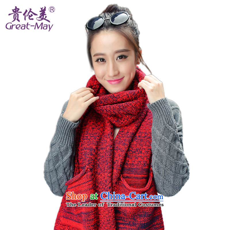 The end of the scarf girls Fall Winter GREATMAY Korean version of the ultra-wide thick-color knitting scarves warm winter Knitting scarves WJ0054 Ms. black and red colorway