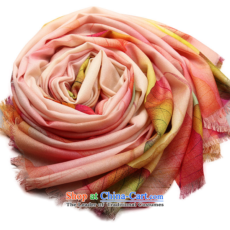 Shanghai Story autumn and winter wool poster printing long warm Fancy Scarf just leaves beige