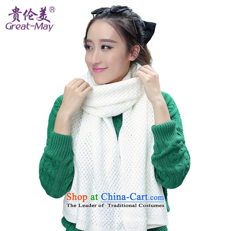 The Korean version of solid color GREATMAY corn ribbed Knitting scarves female Fall Winter Ms. stylish warm sweater WJ0052 a pure white