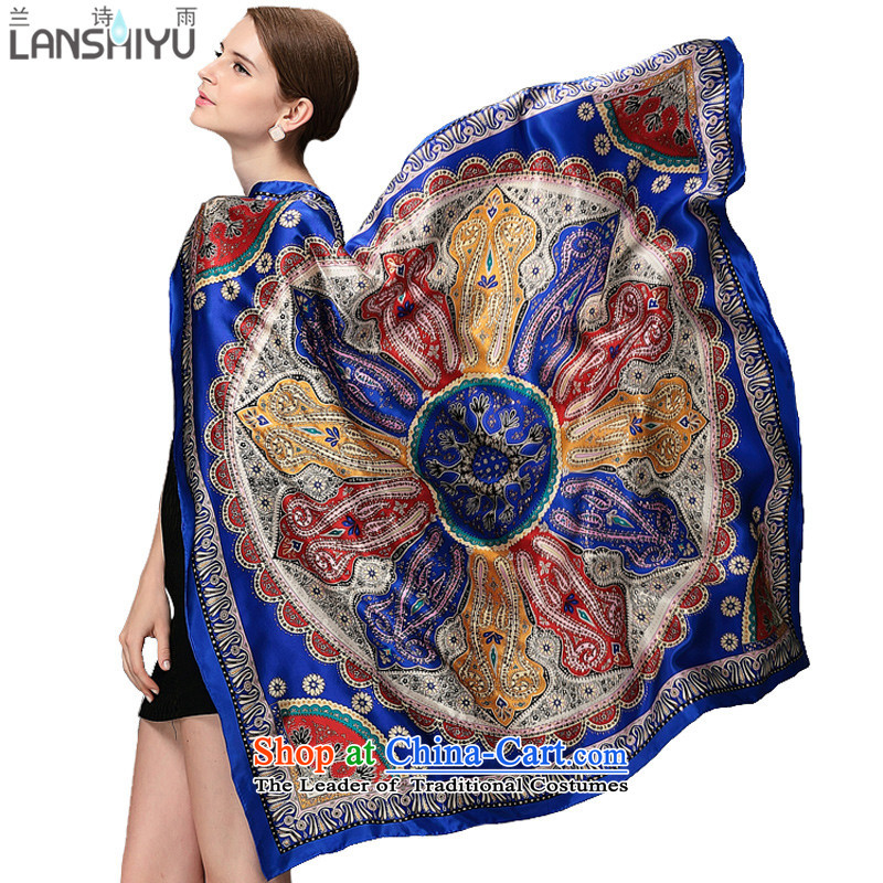 Ho Shih rain silk scarf female spring and summer new silk scarf hot and classy herbs extract gold LSY1160815 know blue scarf