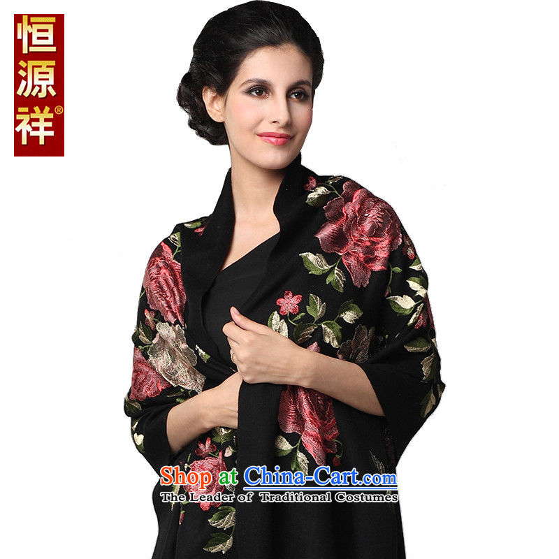 Hang Cheung Classic Korean source Ms. Embroidered scarf shawl large long warm with two thick warranty su wool autumn and winter long towel black聽185_65 cm