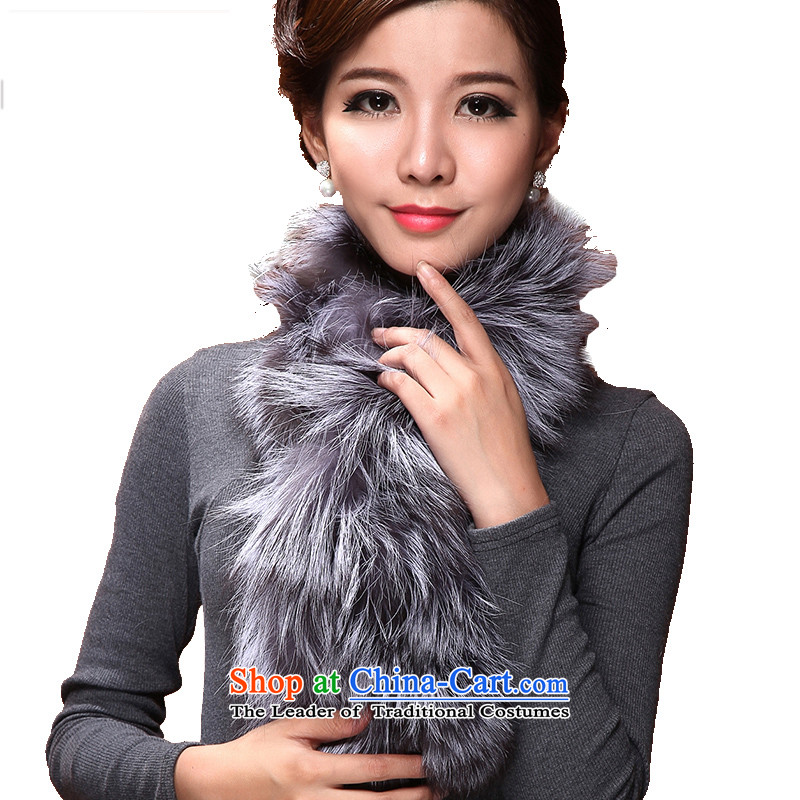 I know the fox woolen cravat women fur autumn and winter stylish thick warm Maomao collar scarves imports fox gray 3212