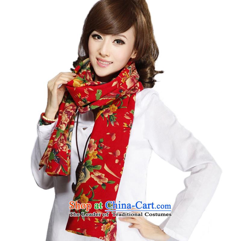 Bai Fei Li autumn and winter, ethnic Mudan neafc jacquard yarn-dyed fabric cotton linen Ms. stamp warm scarfFGJ-001beautiful posh large red wide180cm*43cm