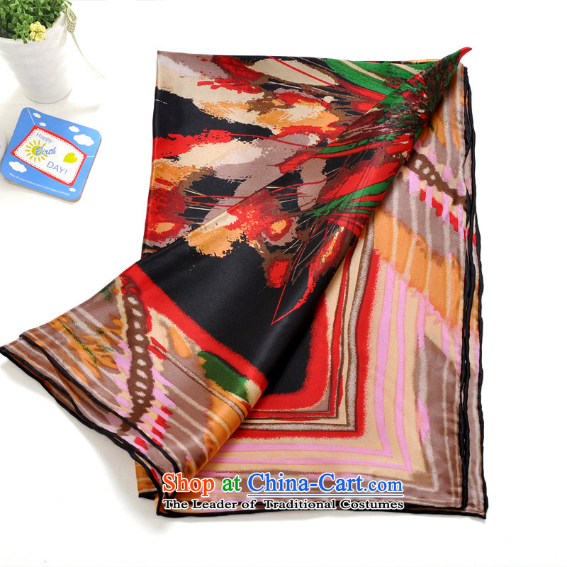 The 2014 autumn and winter bathing in the new Lin Feng genuine female sauna silk silk and classy towel Korean Stamp Fancy Scarf 6756-1 female black and red
