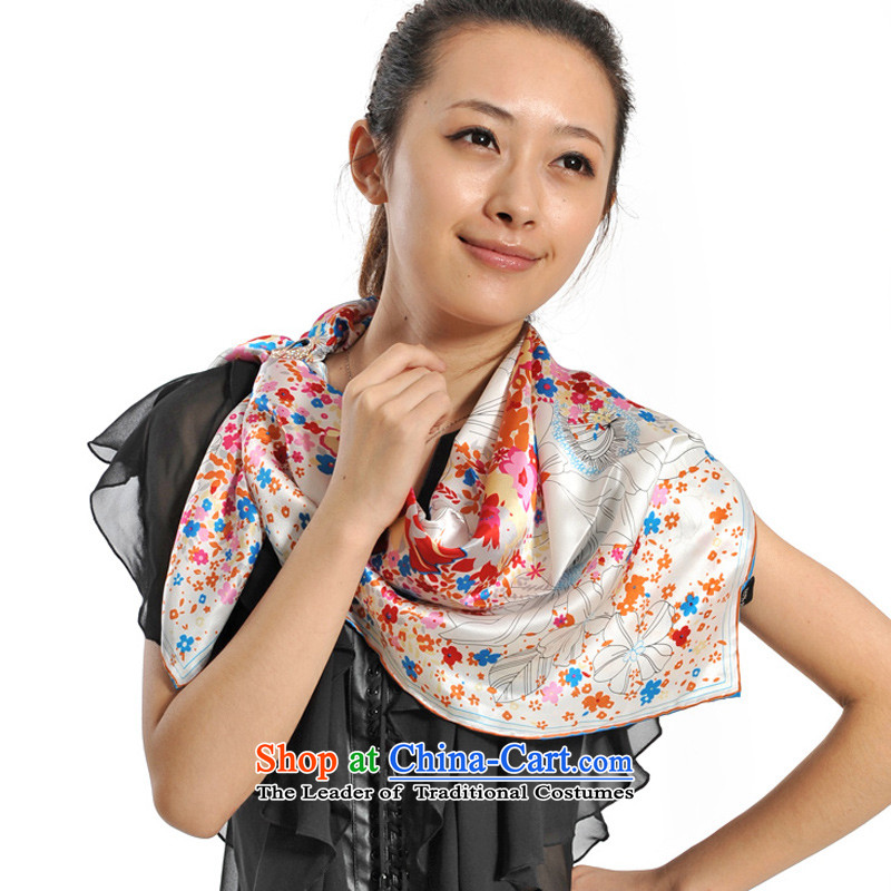 Lin Feng genuine bathing in the classy and towel 2014 autumn and winter female sauna silk silk Korean Version Stamp New Fancy Scarf 6749-1 female white color