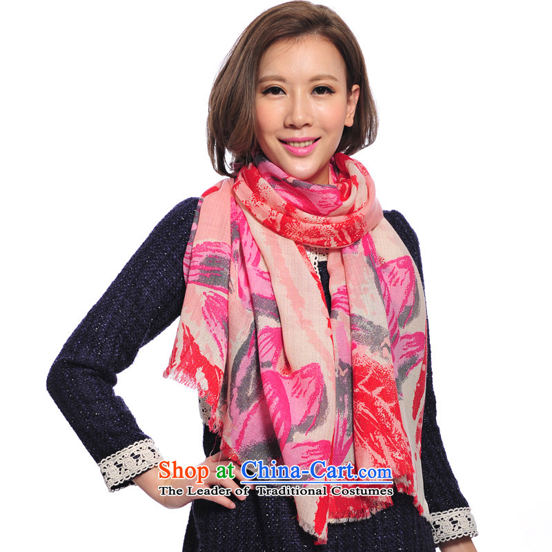 Lin Feng genuine bathing in the autumn and winter, warm wooler scarf stamp gold wire short Sui Fancy Scarf 7692-1 Pink