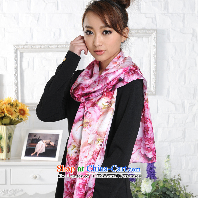 Lin Feng genuine bathing in the upscale silk sauna silk scarves long autumn stylish stamp long 7215-1 Fancy Scarf by red
