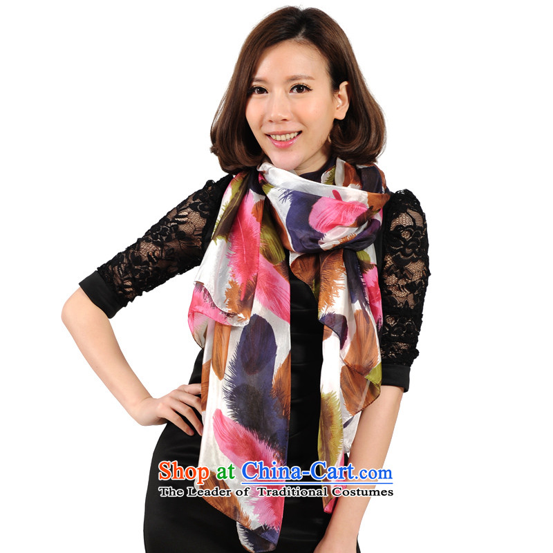 Bathing in the Lin Feng counters genuine silk scarf spring sauna Ms. new silk scarves shawl, widen the increase in 7637-2 red and green