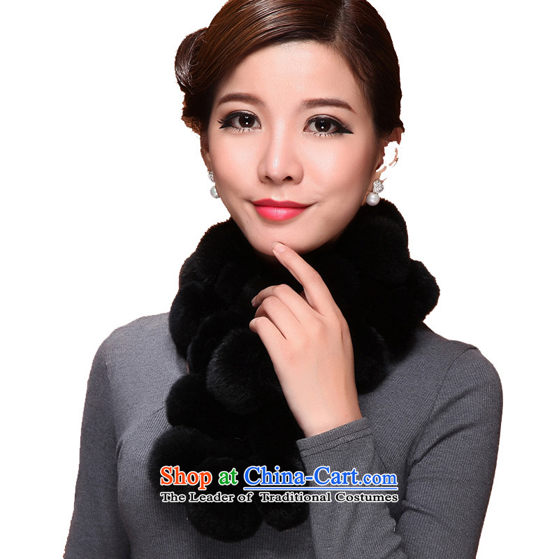 I know the process of woolen cravat and fur rabbit hair eggs ball scarf 2014 new women's warm thick fur lovely winter mandatory black