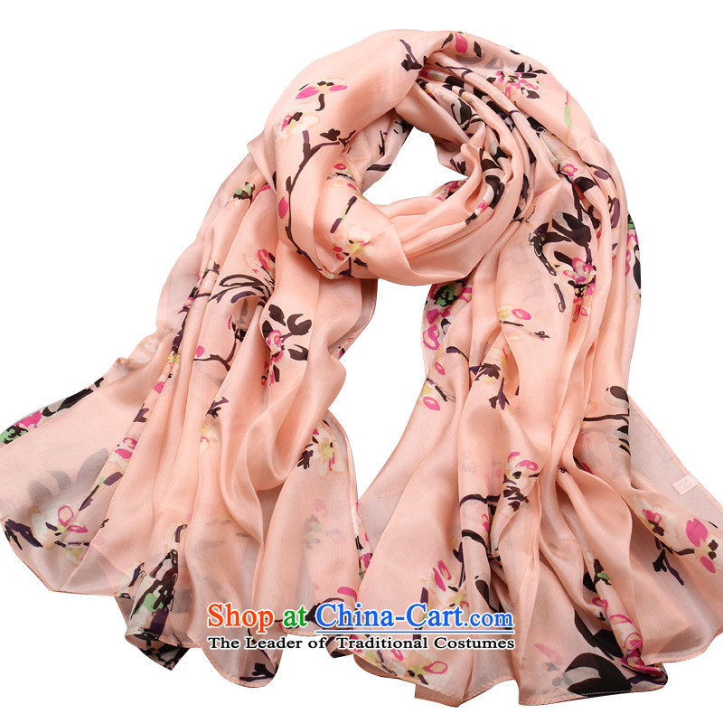 Shanghai Story scarf oversized autumn and winter silk stamp silk scarves for Arabic flower ginyu Pink