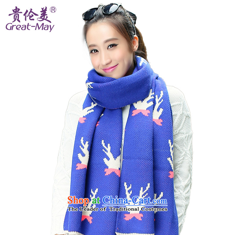 The Korean version of the stylish GREATMAY antlers pattern Knitting scarves female autumn warm winter long Knitting scarves WJ0056 wide fresh blue