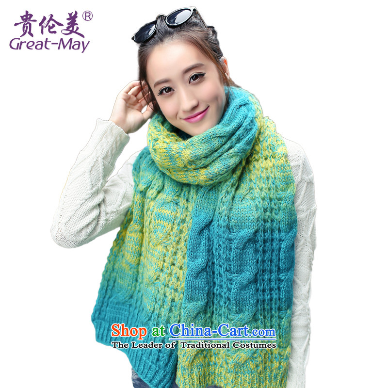 The Korean fashion gradients GREATMAY warm Knitting scarves women Fall Winter twist a WJ0059 knitting, blue _ yellow color scheme