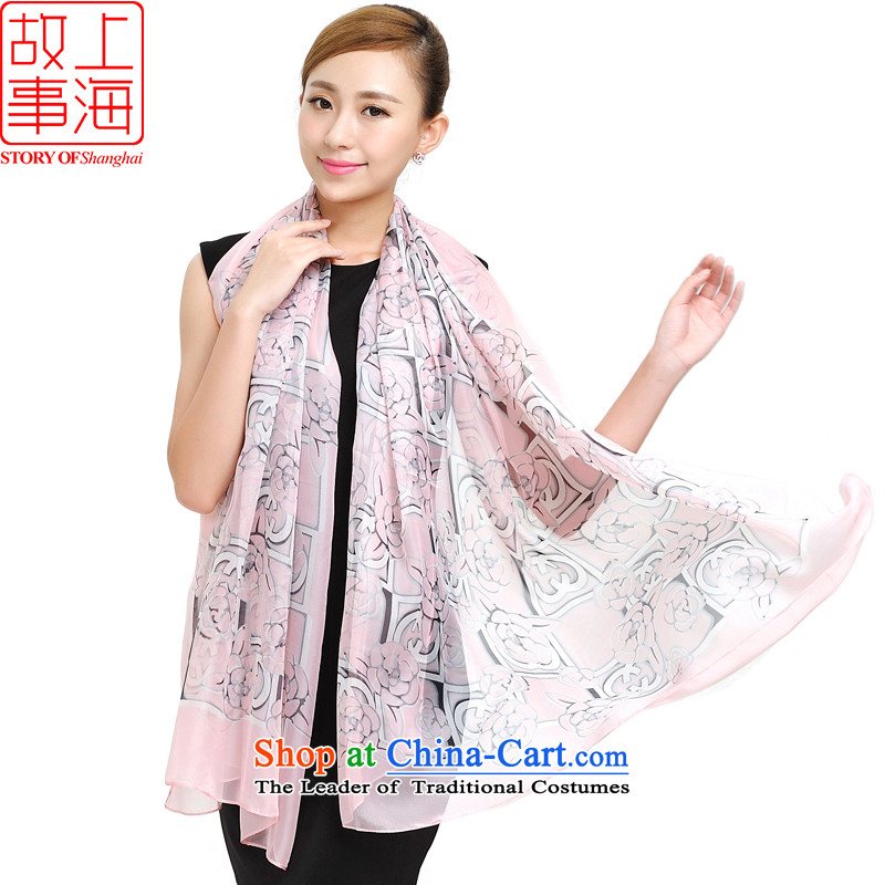 Shanghai Story new women's Western wind is simple and stylish chiffon sunscreen silk scarf beach towel wild fancy scarf 159029 autumn and winter Pink