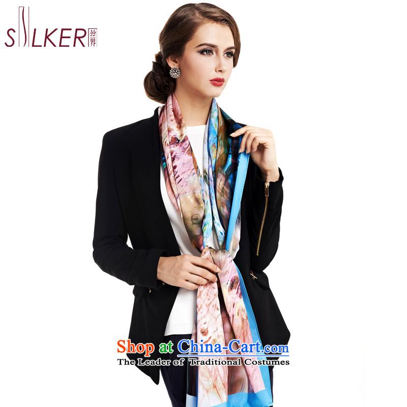 Sigi's new silk scarf female Korean version of the spring and autumn Sleek and versatile silk scarf Fancy Scarf two super long upscale digital inkjet, starring Kim D Blue