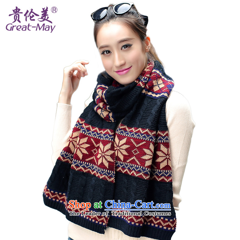 Greatmay England Knitted Scarf winter snowflakes wind Fall Winter Korean female long Knitting scarves WJ0067 thick black Classic
