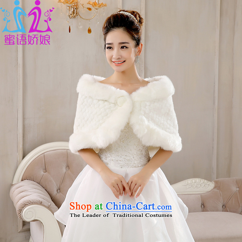 Talk to her new bride shawl 2015 wedding dresses qipao shawl white warm winter winter) Bride thick hair shawl White