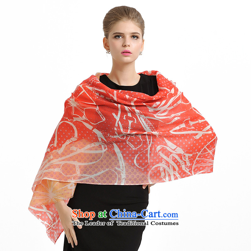 Shanghai Story autumn and winter new Bohemia dot 72 Australia wool quilts Fancy Scarf female 159069 watermelon red