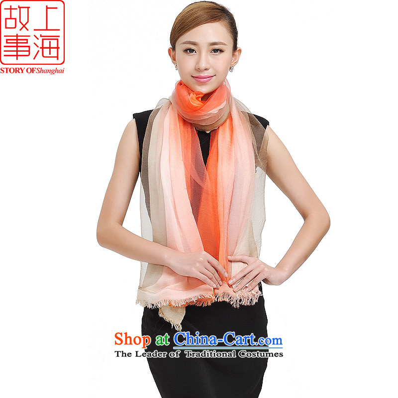 Shanghai Story new women cape silk cotton double gradient scarf herbs extract large scarf 177051 m Orange