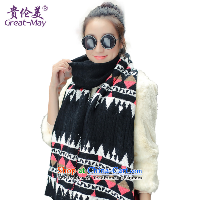 The end of the scarf female Korean Version Ma Tei autumn winter suit knitting a long Knitting scarves, widen the warm WJ0070 classic black