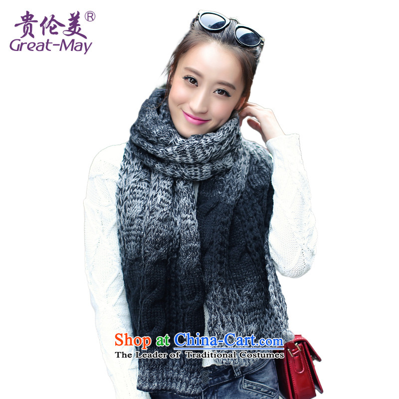 The Korean fashion gradient warm Knitting scarves women Fall Winter twist a WJ0059 knitting, black-and-white color scheme