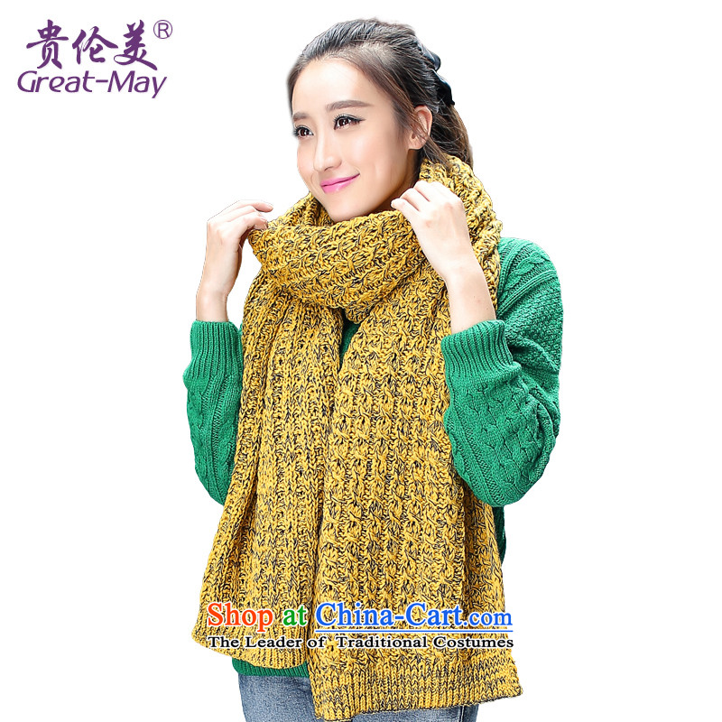 The Korean version of the dual color Knitting scarves long widened the girl autumn warm Winter Sweater a president thick yellow and black color WJ0053