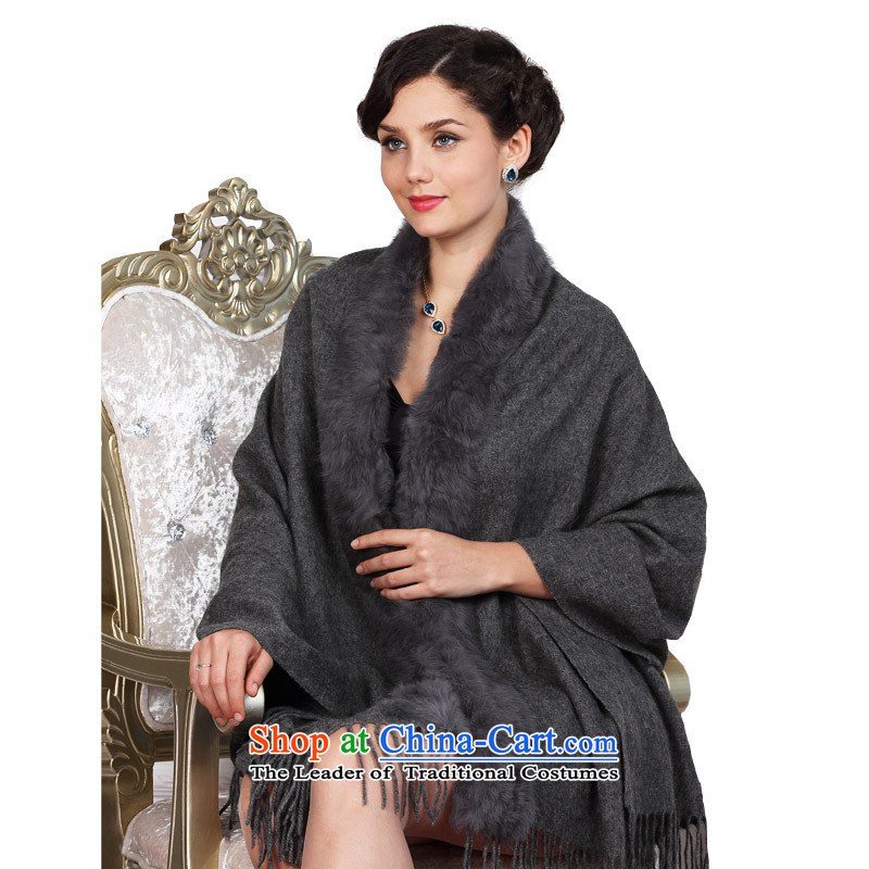 The woolen shawl Karen women with scarves fur shawl girl of autumn and winter thick intensify rabbit hair for light gray
