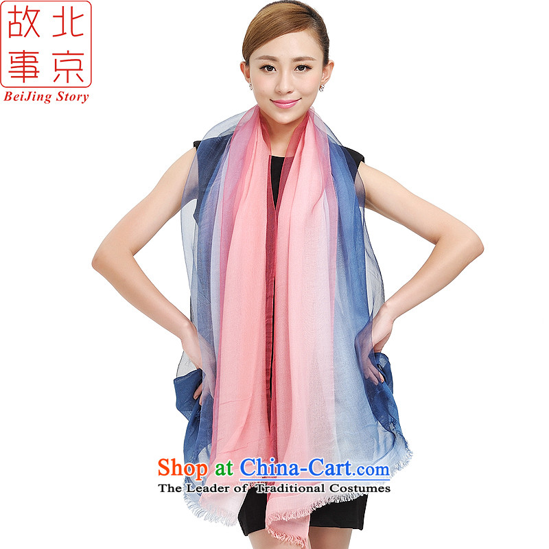 Beijing story new shawl, silk scarf 100% cotton double gradient herbs extract large scarf 177051 POWDER BLUE