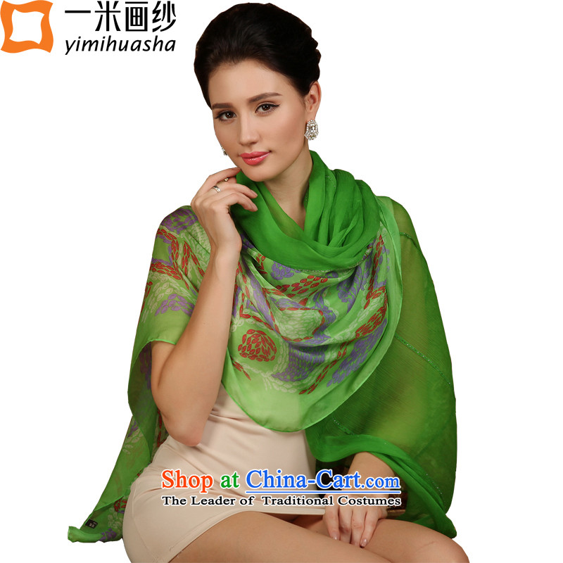 A picture of the spring 2015 m new stamp silk scarves herbs extract scarf green