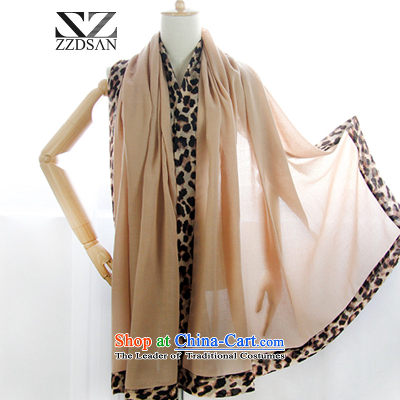 Up to 2014 autumn and winter clothes new Korean Leopard insets scarf Ms. multifunction silk scarf shawl autumn and winter warm and stylish lounge wild scarf female light brown are code