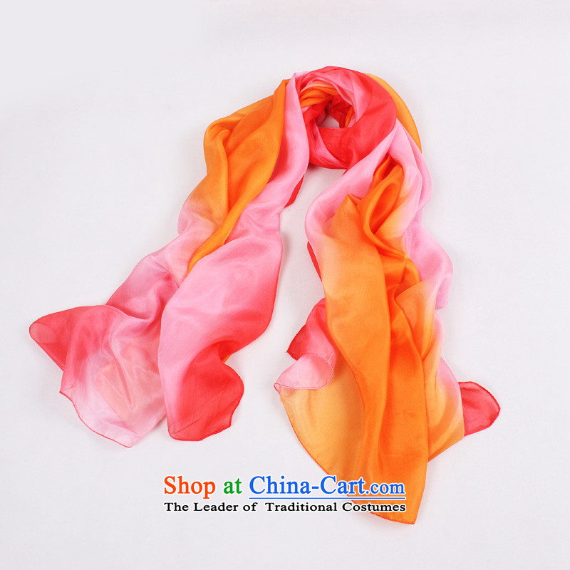 Shanghai Story counters scarf New Silk ocean woven silk scarf gradient autumn and winter warm Ms. scarves stylish herbs extract shawl orange pink gradient