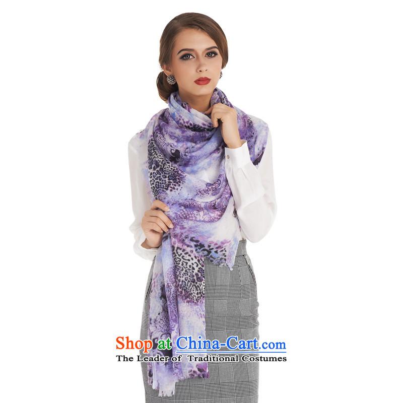 Sigi's new silk Korean fashion autumn and winter warm scarf /pashmina shawl dual-use silk scarf upscale wild stamp scarf blooming clouds to purple