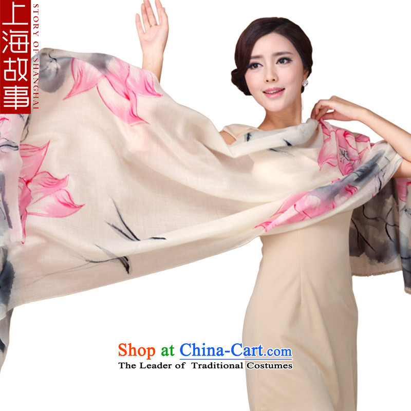 Shanghai Story Ms. silk scarf 300 Cashmere scarf, new cashmere ink charm lotus garden