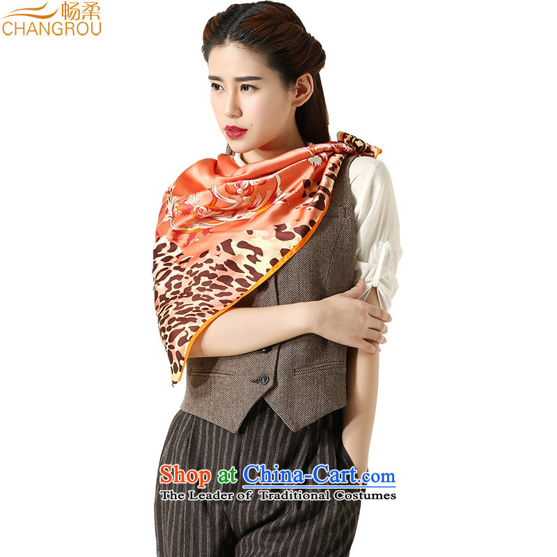 Cheong Sophie herbs extract leopard knocked color silk and classy towel Ms. satin large silk scarf a shawl scarf autumn and winter heart of New SJ0005 orange