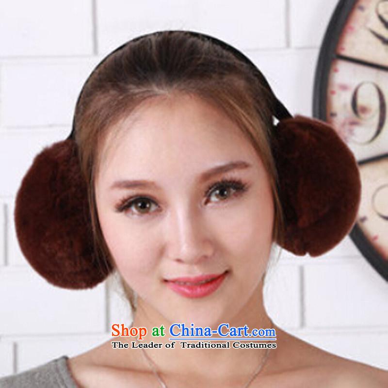 Leather. rabbit hair ear-kit for autumn and winter by Ms. warm earmuffs Korean Maomao ear caps brown monkey rabbit hair earmuffs