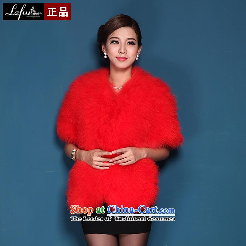 I know of Furs and Fur shawl ostrich feathers wedding female shawl stylish cardigan jacket cloak 5601 Red