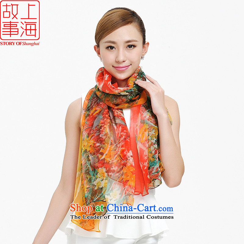 Shanghai Story sunscreen silk scarf beach towel 2014 Ms. new silk scarfs, widen the Korean version of the wild Extension 159039 159039 masks in red and yellow