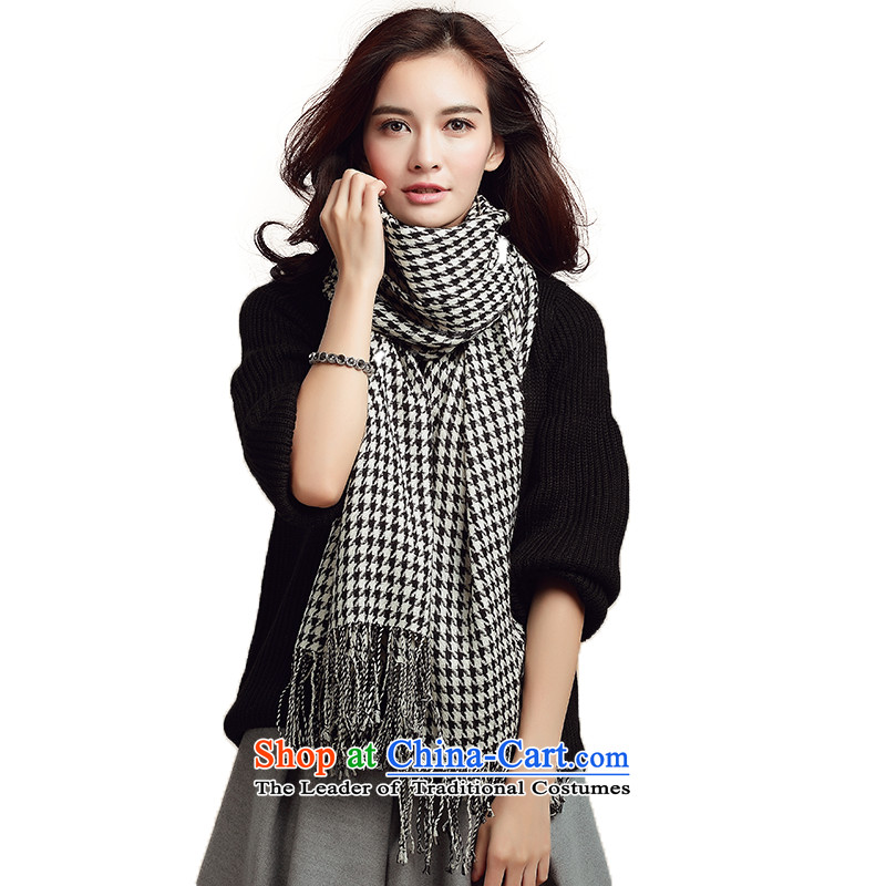 Three (100% worsted wool scarf chidori of Ms. wool long towel chidori of black-and-white