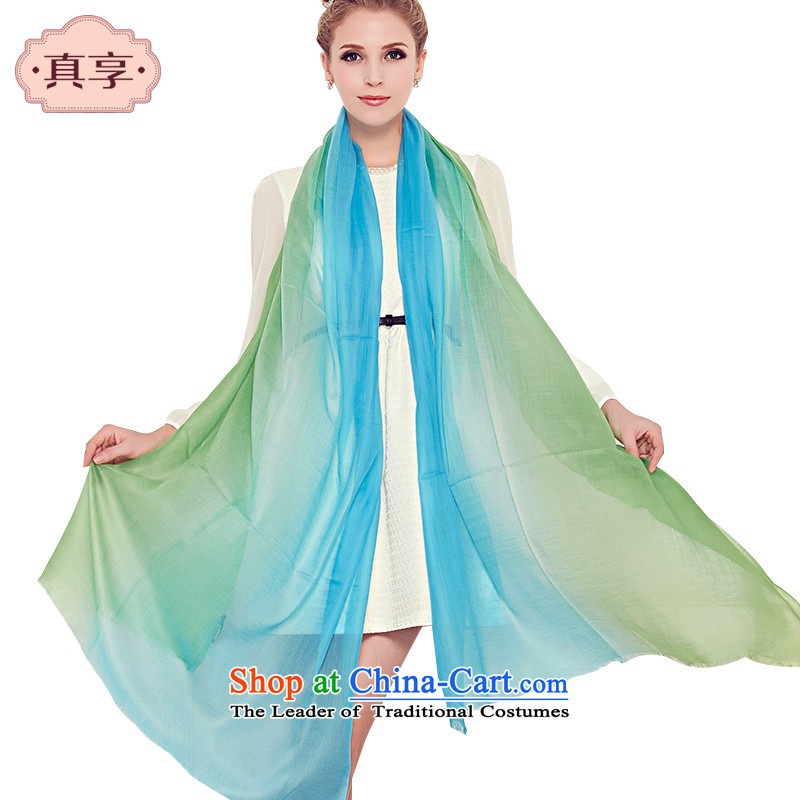 Enjoy the warm Ms. really pure Cashmere scarf green sky blue gradient gradient