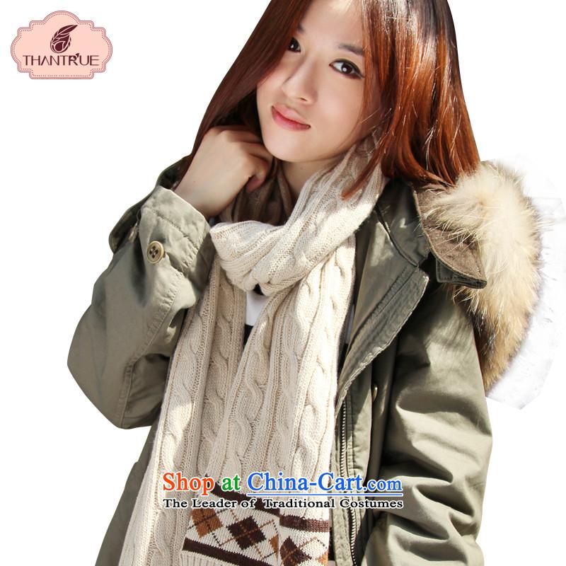 Ms. scarves enjoy true thantrue woolen Knitting scarves winter twist knitted a beige