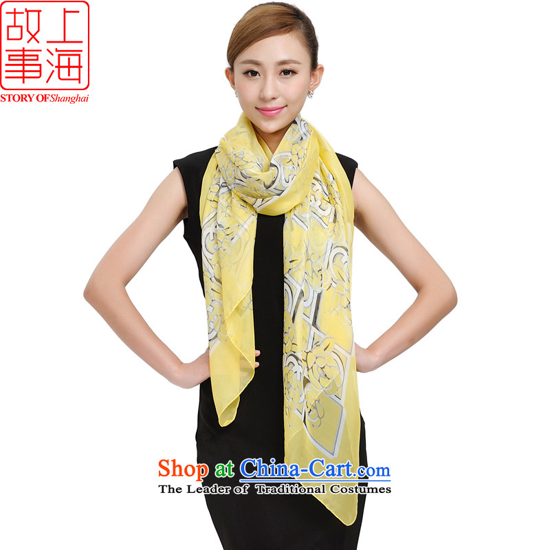 Shanghai Story sunscreen silk scarf beach towel women is simple and stylish silk scarf broadening the chiffon gliding long shawl 159029 yellow