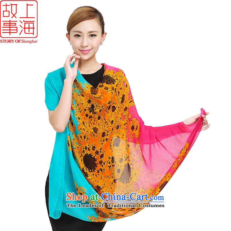Shanghai Story long sunscreen silk scarf beach towels, new Korean silk scarfs 100 herbs extract widen sunscreen silk shawls 159049 in Blue
