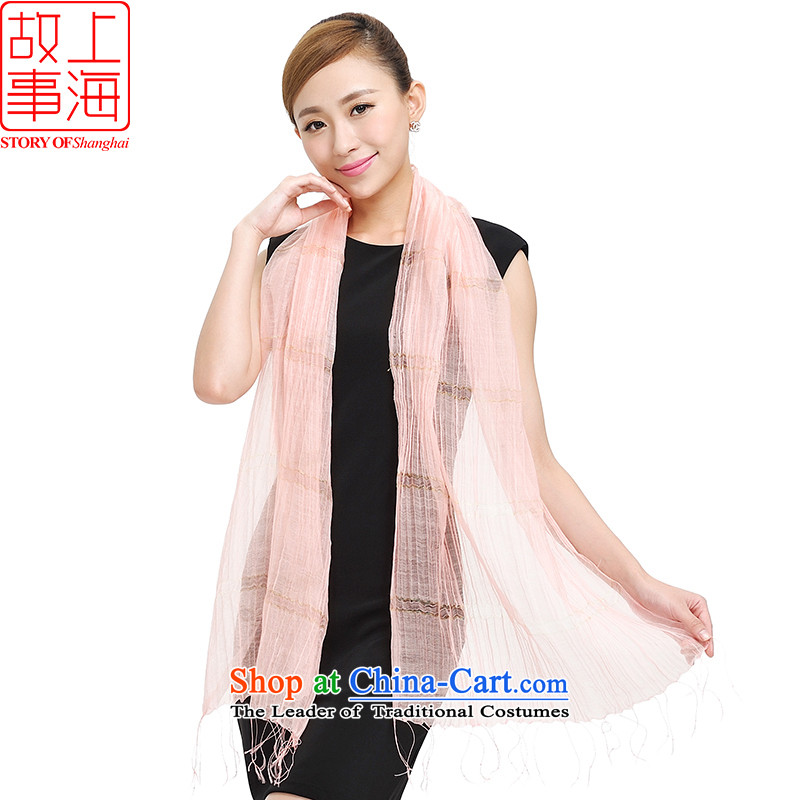 Shanghai Story scarf autumn and winter Ms. new silk scarves gold wire wool pure color wild Korean 177002 scarves Pink
