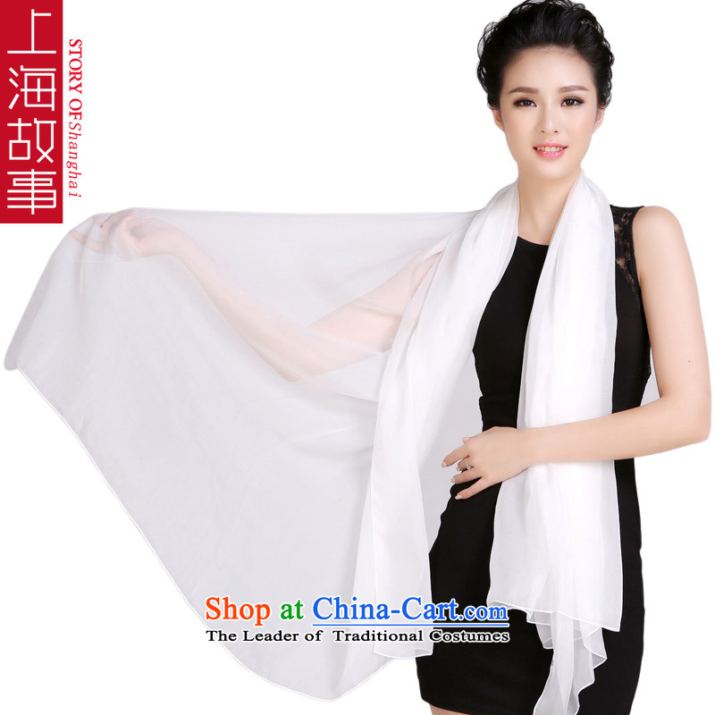 Shanghai Story Chiffon Pure pigment color silk scarves herbs extract scarves, autumn and winter new shawl oversized ultra long chiffon - White
