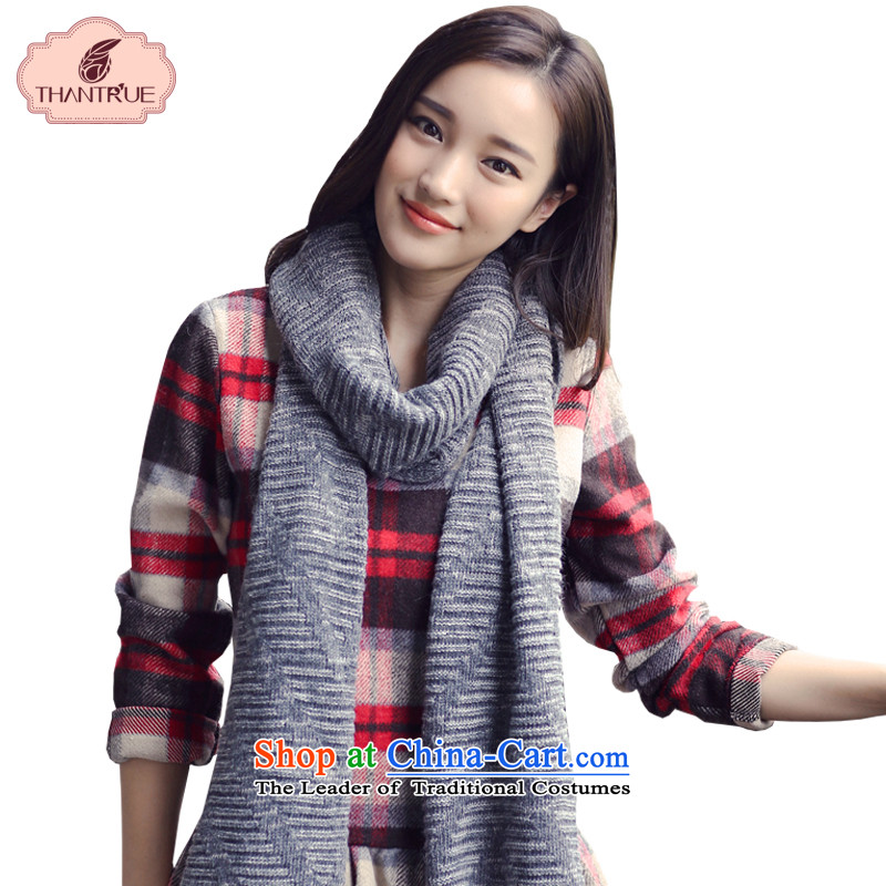 Enjoy true couples thantrue Knitting scarves, Autumn and Winter Sweater Korean leisure folder flower Gray