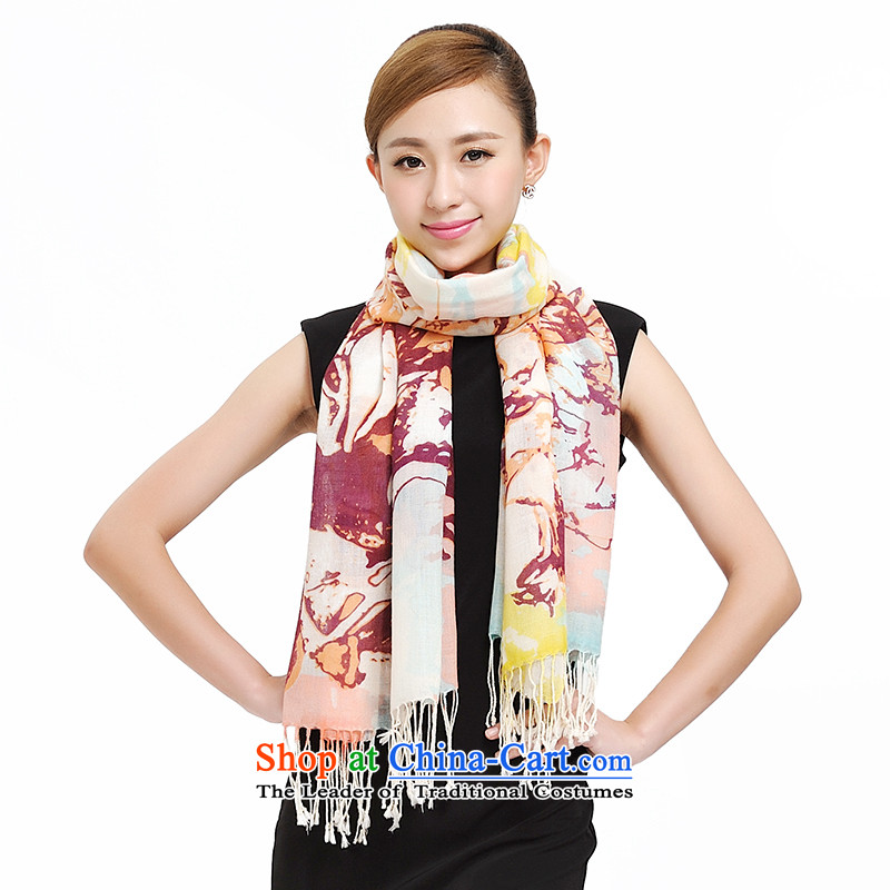 Shanghai Story hand-painted wooler scarf 2014 autumn and winter Ms. new woolen shawl Van Gogh graffiti art wool scarf 177013 Encryption Yellow Toner
